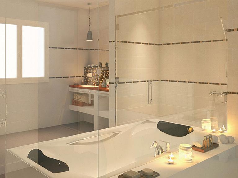 Design und Renovierung eines Badezimmers en suite in Ferienfinca in Cala Murada, Mallorca