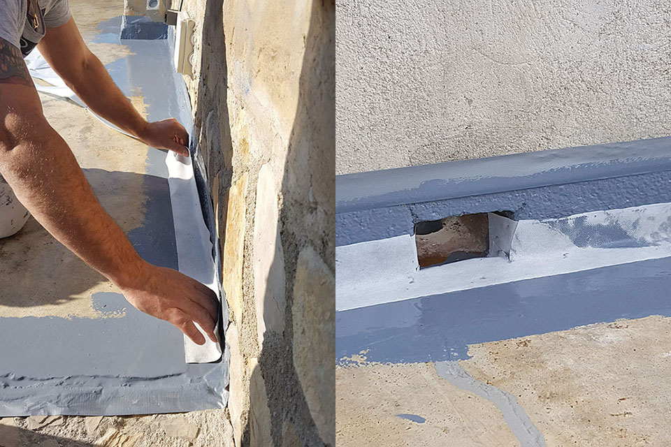 Aislamiento con cinta de malla en terraza en Son Servera, Mallorca