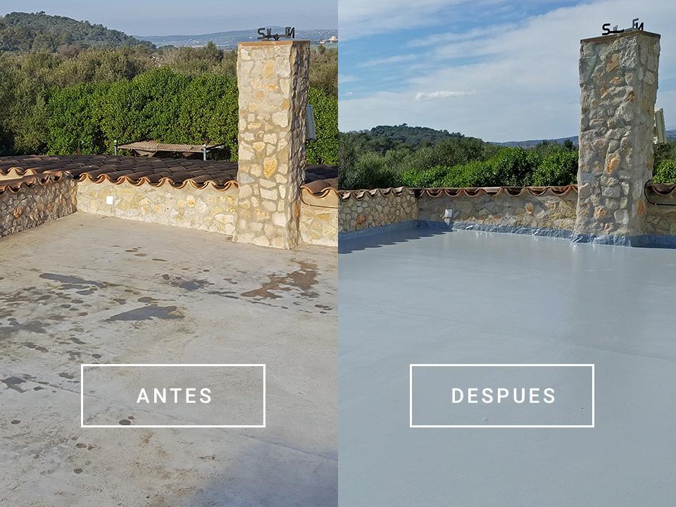 Antes y después de la reforma de terraza en Son Servera, Mallorca