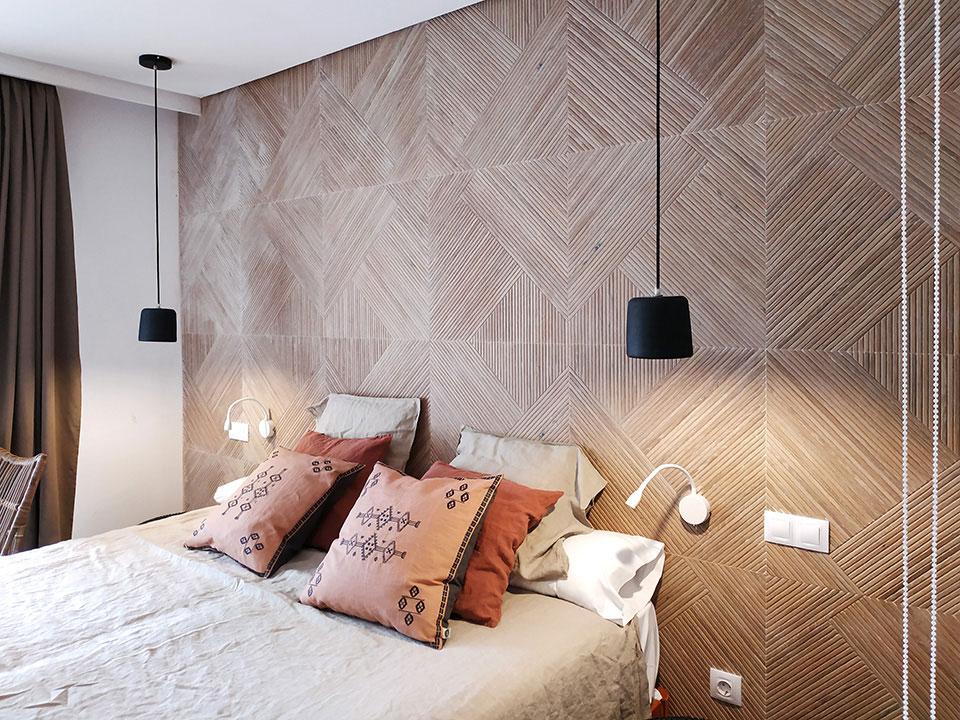 Cabeceros de gres de Porcelanosa en habitaciones de hotel en Cala Murada Mallorca